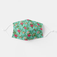 Cute Pink Tropical Summer Flower On Turquoise Blue Cloth Face Mask