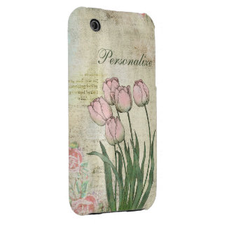 Cute Pink Tulips on Vintage Background iPhone 3 Cover