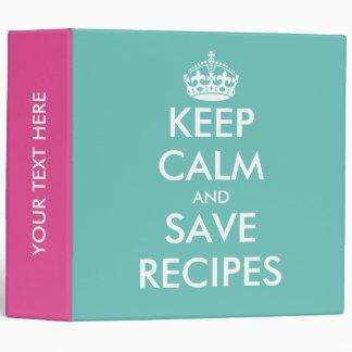 Cute pink turquoise Keep calm recipe binder book