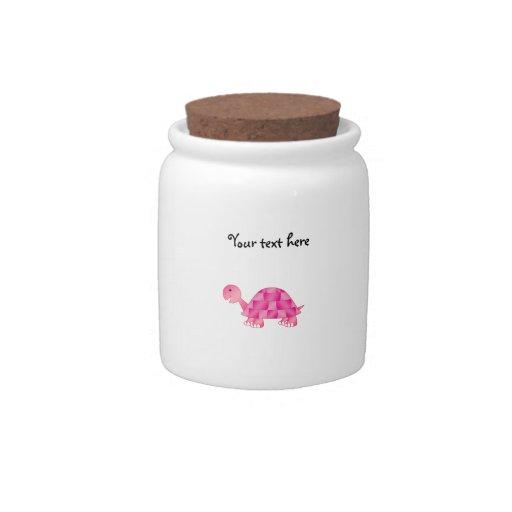 Cute pink turtle candy jar