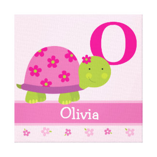 Cute Pink Turtle Children's Room Canvas Art Print Canvas Print