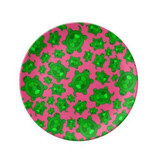 Cute pink turtle pattern porcelain plate