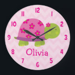 "Cute Pink Turtle Personalized Nursery Wall Clock<br><div class=""desc"">This clock is perfect for your child&#39;s nursery,  bedroom or playroom. Personalize with any name. They make a wonderful gift for baby showers or birthdays. Cute Turtle with pink flowers and chevron zigzag pattern</div>"