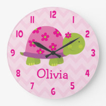 Cute Pink Turtle Personalized Nursery Wall Clock