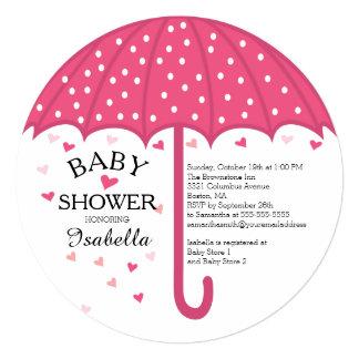 Cute Pink Umbrella Girls Baby Shower Invitation