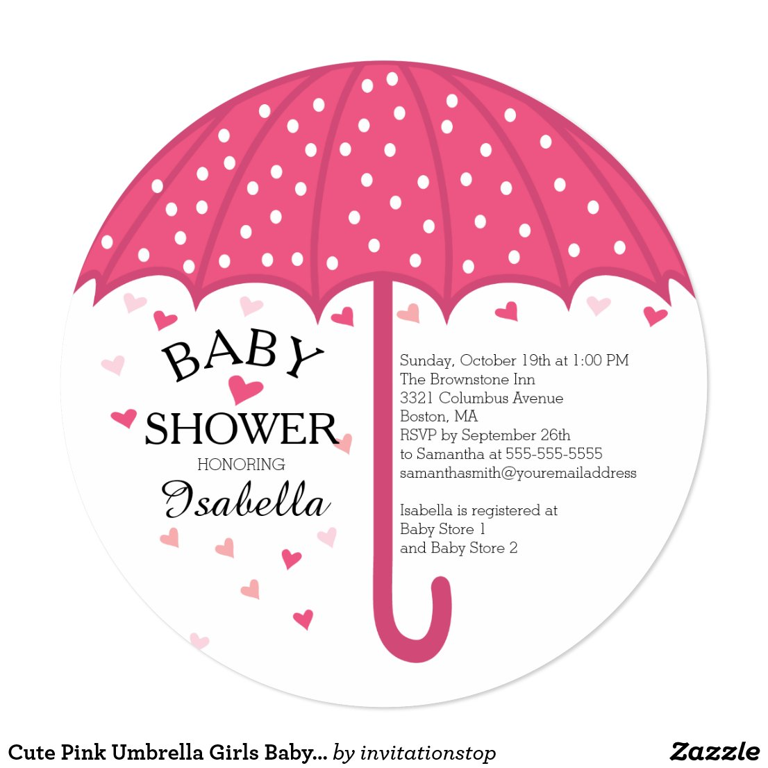 Cute Pink Umbrella Girls Baby Shower Invitation