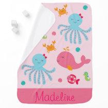 Cute Pink Under the Sea Stroller Blanket