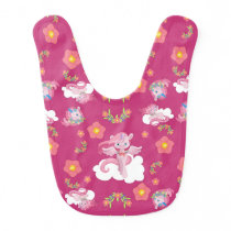 Cute Pink Unicorn and Flowers Baby Bib