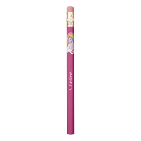 Cute Pink Unicorn and Rainbow Personalized Pencil