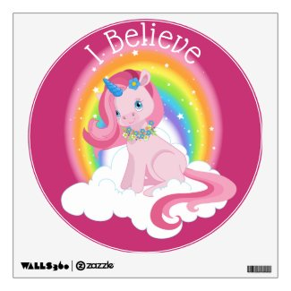 Pink Unicorn Wall Decal with Personalized Words