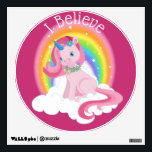"""Cute Pink Unicorn and Rainbow Personalized Wall Decal<br><div class=""""desc"""">This cute,  fantasy image features an adorable,  blue eyed,  pink unicorn sitting on a white,  fluffy cloud with a rainbow. &quot;I Believe&quot; can be changed to suit your needs. Perfect for the unicorn lover.</div>"""