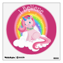Cute Pink Unicorn and Rainbow Personalized Wall Decal