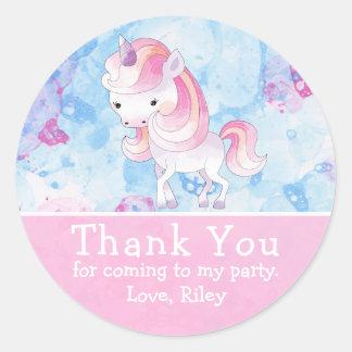 Cute Pink Unicorn Birthday Thank You Classic Round Sticker
