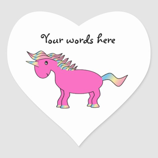 Cute pink unicorn heart sticker
