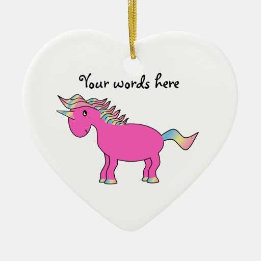 Cute pink unicorn Double-Sided heart ceramic christmas ornament