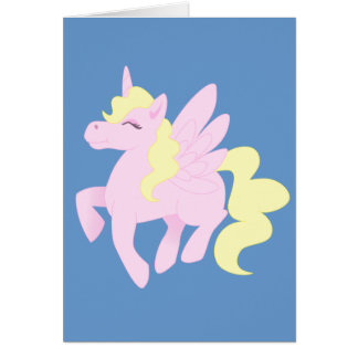 Cute Pink Unicorn Pegasus (Unipeg) Card