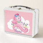 """Cute Pink Unicorn Personalized Metal Lunch Box<br><div class=""""desc"""">This cute,  fantasy image features an adorable,  blue eyed,  pink unicorn on a white cloud,  with purple flowers.  Perfect for a little girl.</div>"""
