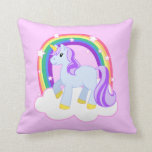 Cute Pink Unicorn with Sparkly Rainbow Throw Pillow
