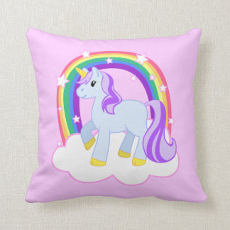 Cute Pink Unicorn with Sparkly Rainbow Pillows