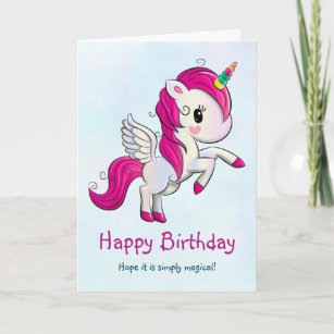Cute Pink Unicorn with Wings Card