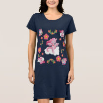 Cute Pink Unicorns and Floral Pattern Dress