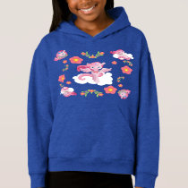 Cute Pink Unicorns and Floral Pattern Hoodie