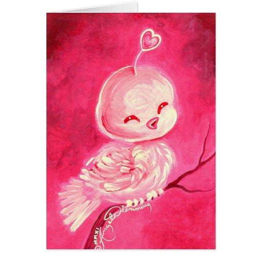 Cute Pink Valentine Bird Greeting Cards