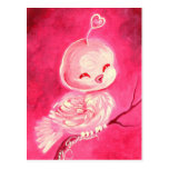 Cute Pink Valentine Bird Postcard