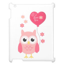 Cute Pink Valentines Owl I Love You iPad Cover
