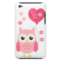 Cute Pink Valentines Owl I Love You iPod Touch Case