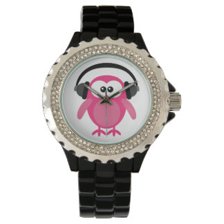 Cute Pink Vector Owl with Headphones Wristwatch