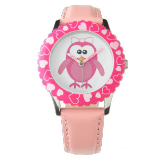 Cute Pink Vector Owl with Ribbon Watches