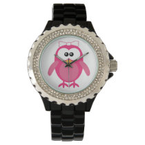 Cute Pink Vector Owl with Ribbon Wrist Watch