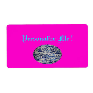 Cute Pink Vintage Blue/White Xmas Holiday Village Label