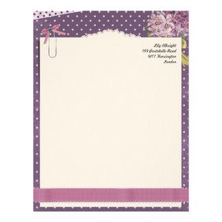 Cute pink violet vintage letterhead