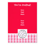 Cute Pink Volleyball 5x7 Paper Invitation Card