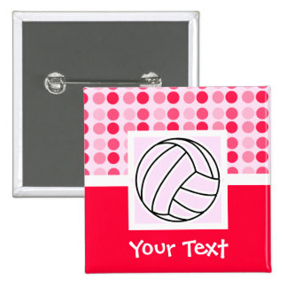 Cute Pink Volleyball Pinback Button
