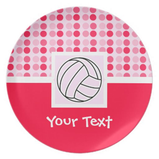 Cute Pink Volleyball Dinner Plates