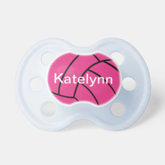 Cute Pink Volleyball Monogram Pacifier