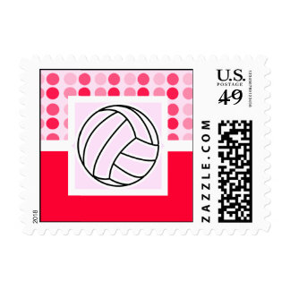 Cute Pink Volleyball Postage Stamps