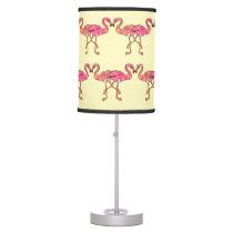 Cute Pink Watercolor Flamingos on Summer Yellow Desk Lamp