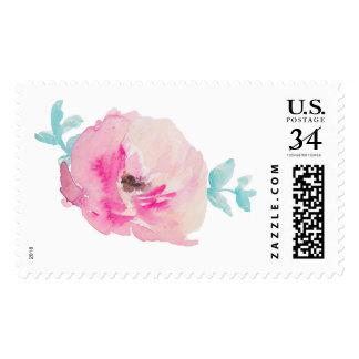 Cute Pink Watercolor Flower Stamp