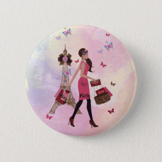 Cute Pink Watercolor Girl Paris Eiffel Tower Pinback Button