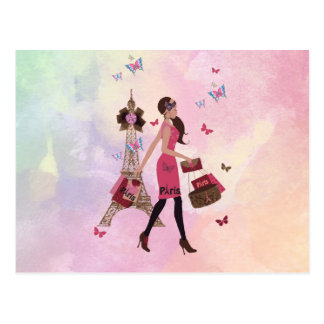 Cute Pink Watercolor Girl Paris Eiffel Tower Postcard