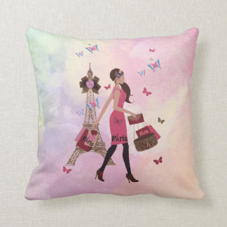 Cute Pink Watercolor Girl Paris Eiffel Tower Throw Pillow