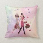 Cute Pink Watercolor Girl Paris Eiffel Tower Throw Pillows