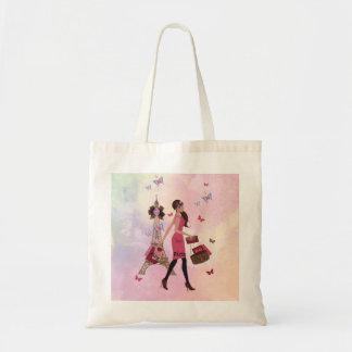 Cute Pink Watercolor Girl Paris Eiffel Tower Tote Bag
