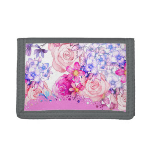 Cute pink watercolor lace floral pattern trifold wallet