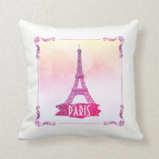 Cute Pink Watercolor Paris Eiffel Tower Girly Throw Pillow