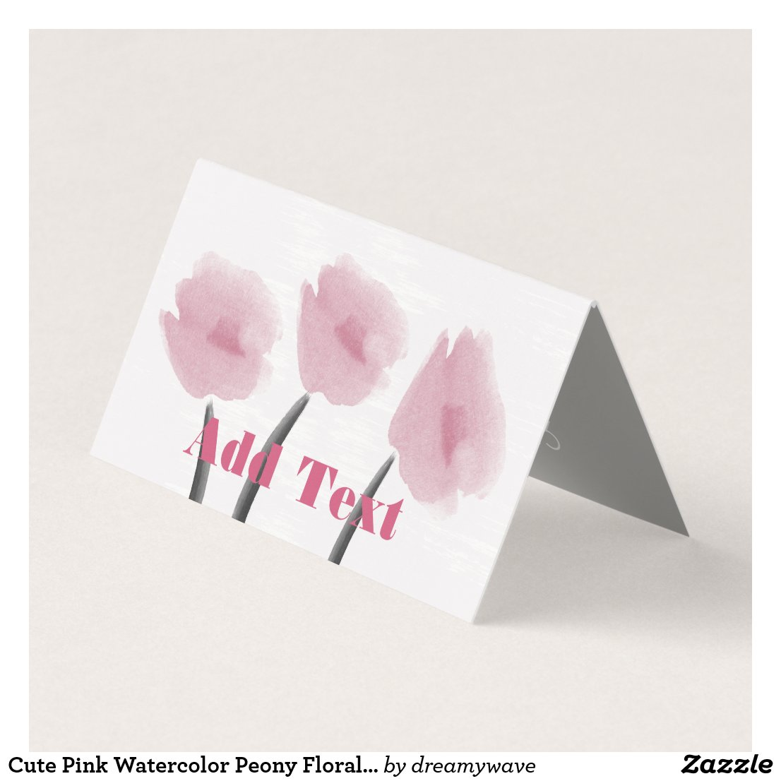 Cute Pink Watercolor Peony Floral Flowers Card